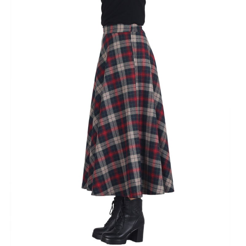 Plaid Skirt Women Long Skirt British Style Woolen Plaid Skirts Spring Vintage Wool Tartan Umbrella Autumn Elegant Female Skirts 1