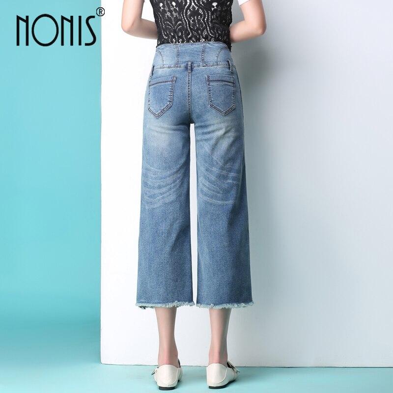 Nonis 2017 new women jeans wide leg Straight trousers strech calf-length pantalon jeans sexy pour femme loose pant 1