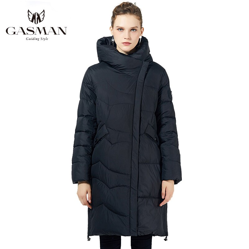 GASMAN Black Long Fashion Parka Women's Jacket Winter Hooded Coat Warm Cotton Overcoat Female Puffer Down Jacket Plus Size 19022 2