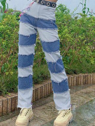 Hight Waist Denim Free Lengthy Pants Vogue Jeans