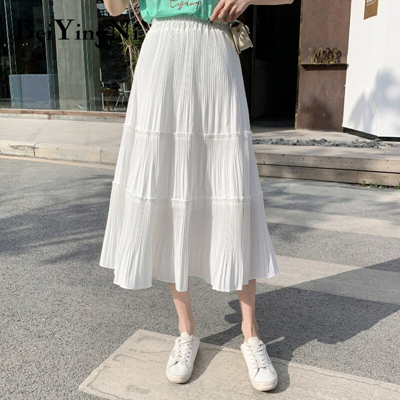 Beiyingni Vintage Casual Pleated Skirt Women Patchwork Long High Waist Midi Cake Skirt Elegant Harajuku Saias Faldas Maxi Jupe