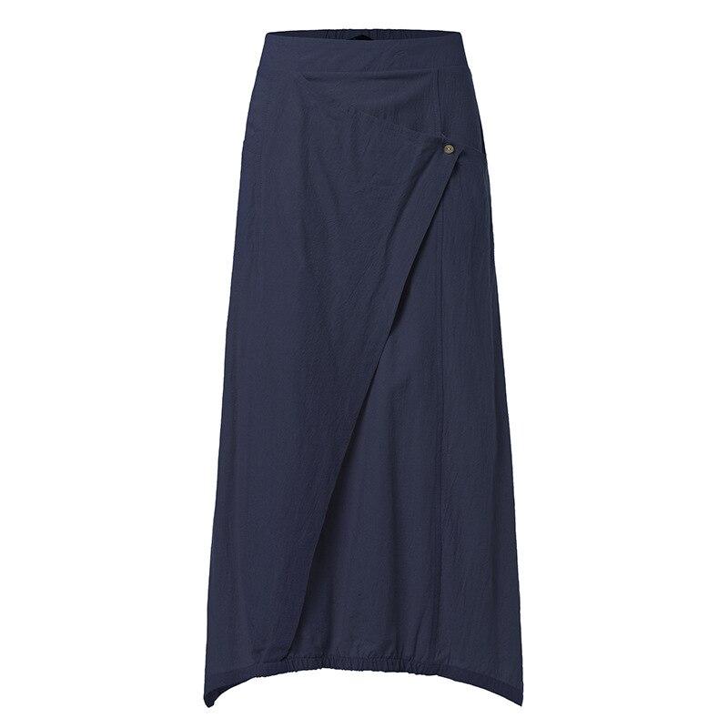 2020 Summer Women Linen Long Skirts Casual Loose High Waist Maxi Skirts Asymmetrical Hem Skirt Jupe Saia Femme Plus Size 4