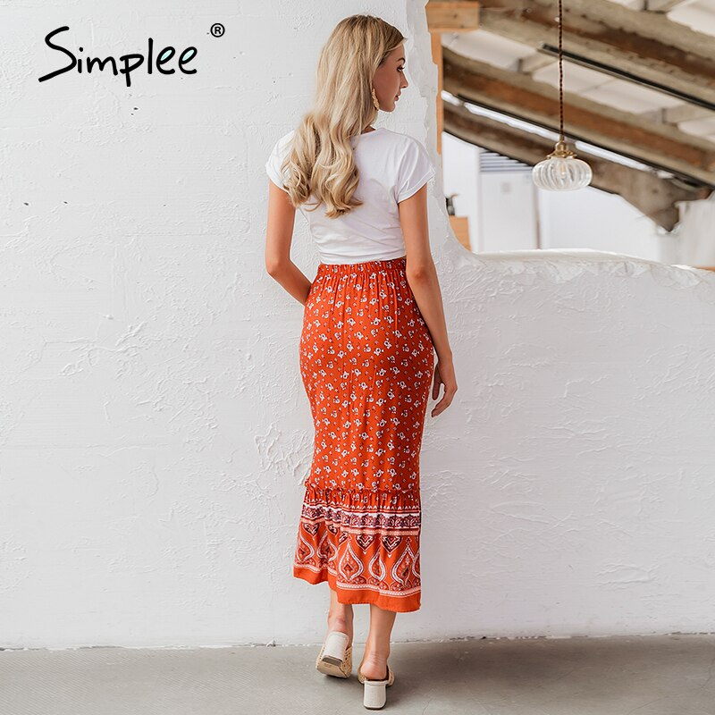 Simplee Bohemian floral print women long skirt Ruffled split A-line female skirts Spring summer holiday beach ladies skirts 2020 3