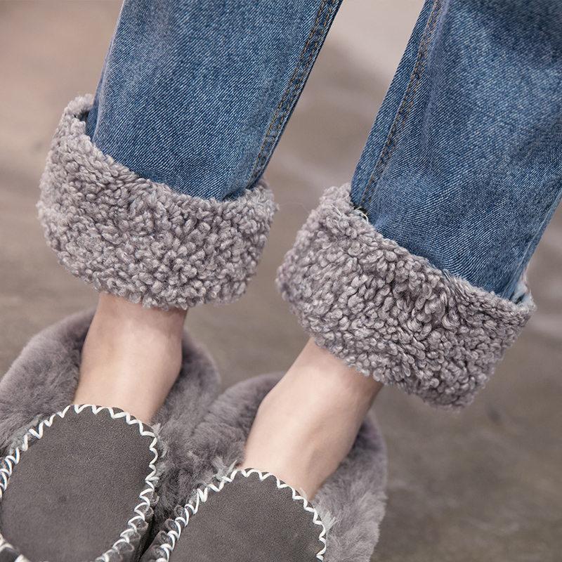 Plus Size 3XL Warm Winter Jeans Women Lambs Wool Stitching High Waist Jeans Woman Plus Velvet Straight Jeans Denim Pants C5949