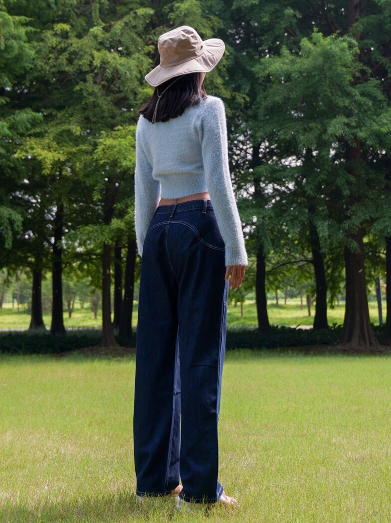 Women High Rise Contrast Stitching Straight Leg Jean Dark Wash Relaxed Fit Denim Pants 3