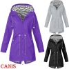 Ladies Jacket Coats Pure Colour Waterproof Transition