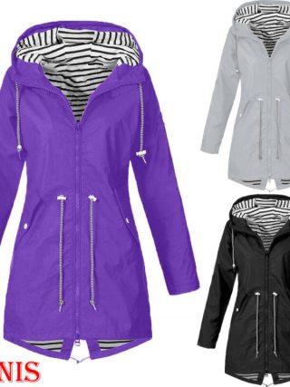 Ladies Jacket Coats Pure Colour Waterproof Transition