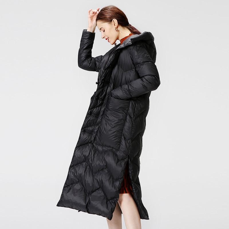 Lightweight down jacket New Winter Parka Womens Down Jacket Solid Split Long White duck Down Coat Warm Hooded Jacket Big Pockets 3