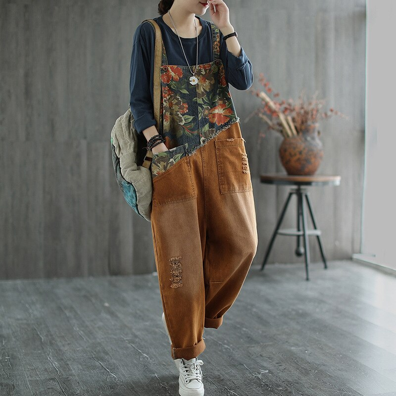 Max LuLu New Chinese Designer Ladies Floral Denim Trousers Womens Vintage Printed Jeans Casual Loose Ripped Oversized Overalls 3