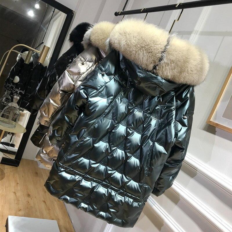 Winter Duck Down Jacket Women Hooded Big Fox Fur Collar Puffer Down Coat Korean Shiny Womens Down Jackets 2020 KJ3721 3