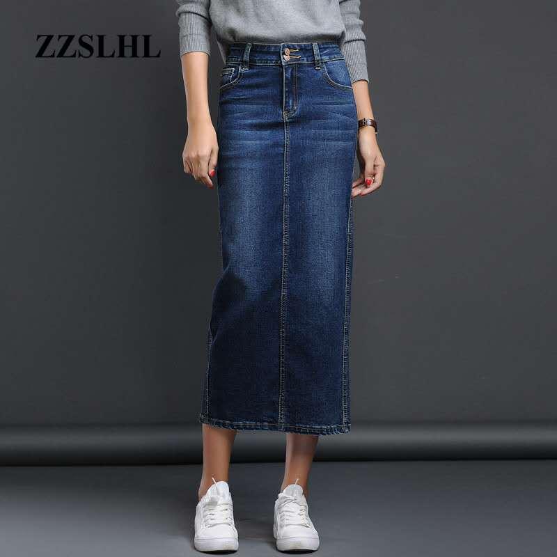 Classic Denim Skirt Woman Long Jeans Skirt Split High Waist Skirts Womens 2020 Women Skirt Washed Jupe Femme Black Blue 4