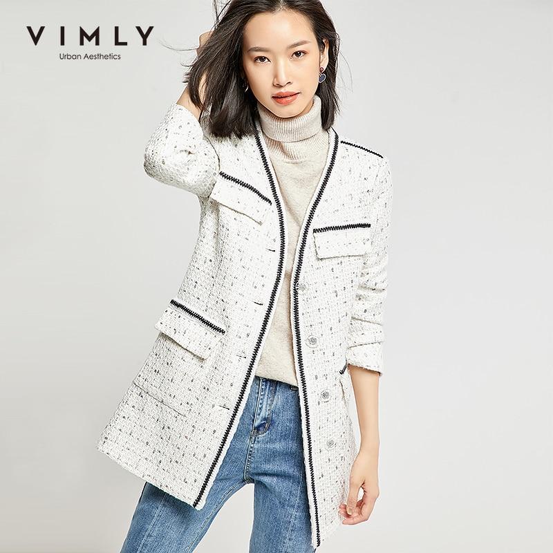 Vimly Women Jacket Elegant Office Lady Single Breasted Patchwork Pockets Long Coat Spring Autumn Vintage Female Overcoat 98665 2
