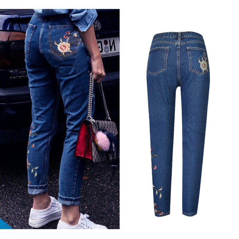 Hot Fashion Jeans Women's Clothing Straight Denim Jeans Pants 3D Floral Embroidery Pants High Waist Ladies Loose Jeans Trousers 3