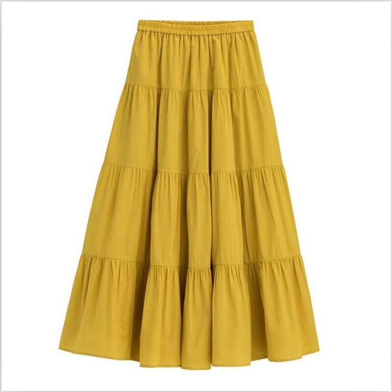 Candy Color Solid Women Long Skirts Sweet Girl Comfortable Loose Cotton Skirts Hot Sell High Street Skirts Plus Size 6XL 7XL 2
