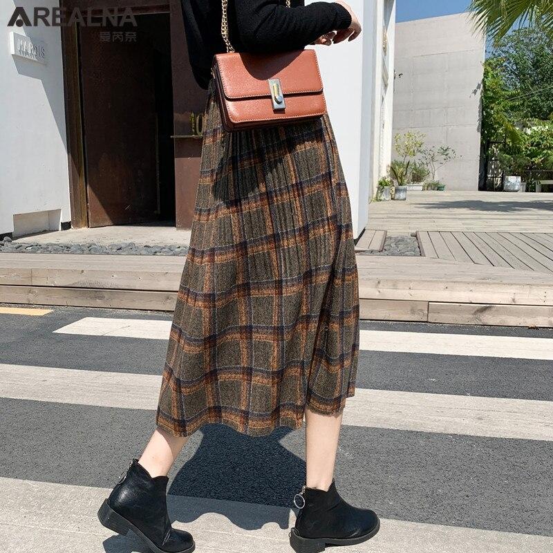 Korean Style Black School Pleated Skirt for Women Plaid Tweed Skirts Womens Long Skirts Womens Midi Skirt Checkered Tartan Skirt 2