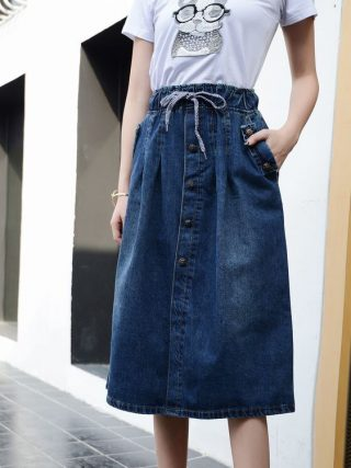 Cotton Denim Ladies Lengthy Skirt Lace-Up Waist