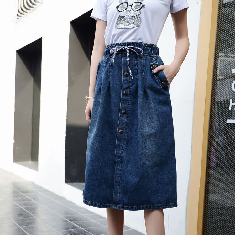 High Waist Cotton Denim Women Long Skirt Lace-Up Waist Oversize Women Denim Skirt Plus Size 7XL Women Skirts Faldas Saias