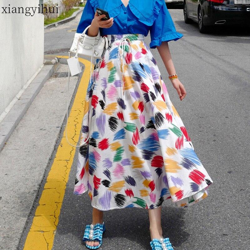 Colorful White Print Women Long Skirts New Korean Chic SummerLace-up High Waist Skirt Large Sewing Bohemian Beach Skirt 2020