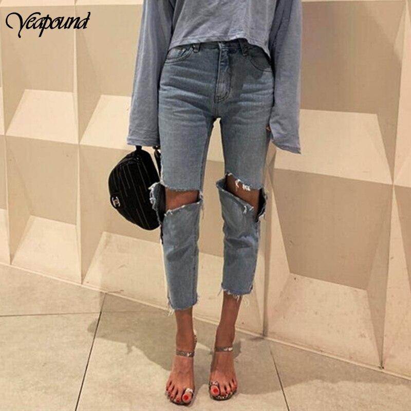Irregular Holes Vintage High Waist Straight Jeans Pant Women Streetwear Loose Female Denim Jeans Buttons 7 Points Jeans