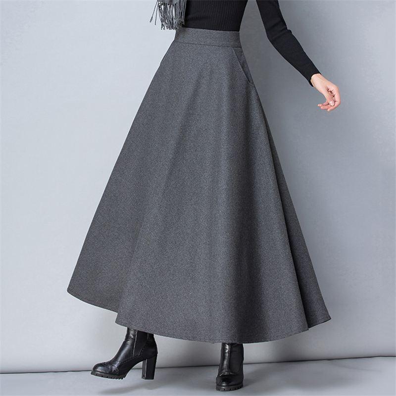 Winter Women Long Woolen Skirt Fashion High Waist Basic Wool Skirts Female Casual Thick Warm Elastic A-Line Maxi Skirts 1