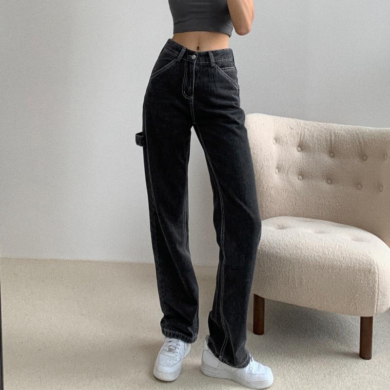 SHENGPALAE 2020 Autumn New Light Blue Washed Retro High Waist Straight Overalls Slim Long Loose Wide Leg Jeans Women ZA512501 2