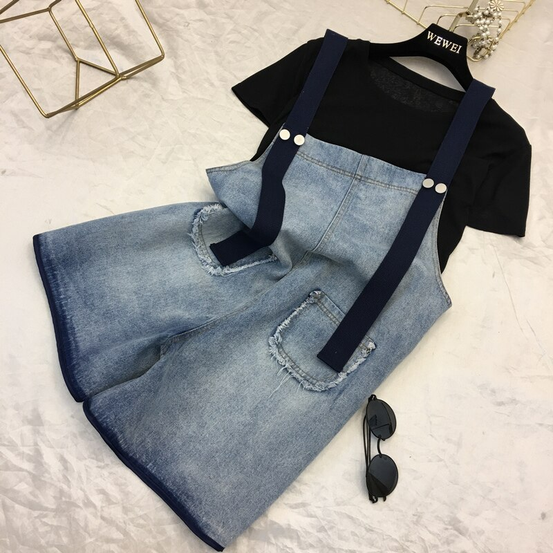 2019 New Women Denim Shorts Overalls Fashion Female Casual Loose Slim Pockets Straps Jeans High Waist Large Size 4XL 5XL M66 3