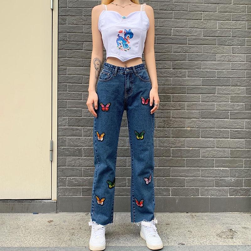 High Waist Women Straight Jeans Butterfly Print Female Denim Pants Boyfriend Summer Palazzo Streetwear Vintage Clothing 2020 2