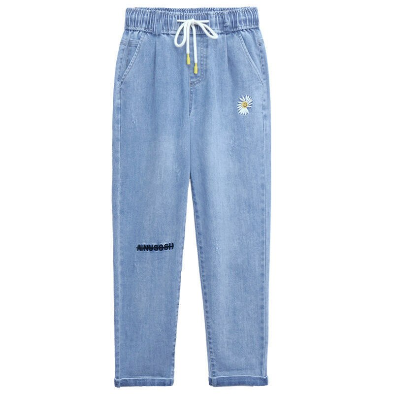Summer Women Daisy Embroidery Tencel Jeans Elastic High Waist Drawstring Loose Straight Harem Denim Pants Boyfriend Jean Trouser
