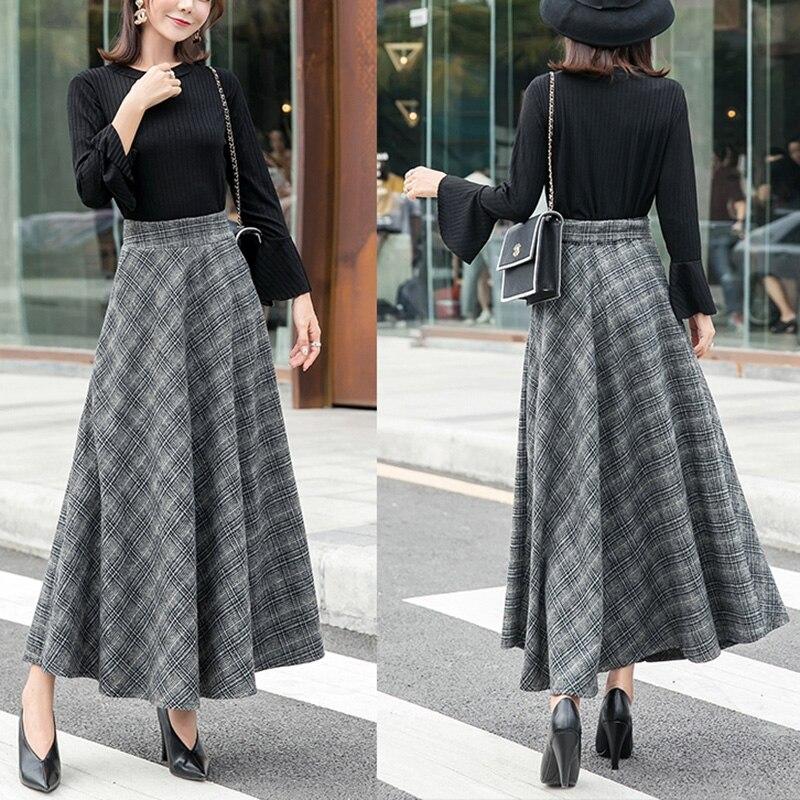 Elegant Plaid Warm Wool Womens Long Skirts Winter High Waist Streetwea Ladies Woolen A-Line Skirt Casual Female Saia Longa 4