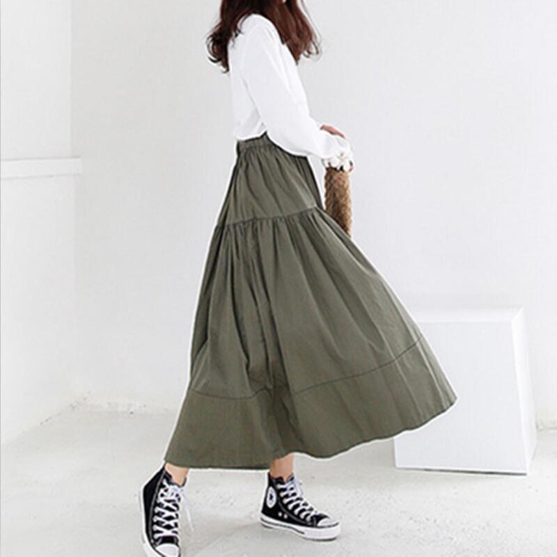 Summer Autumn Women Long Skirts 2020 Solid Elegant High Elastic Waist A Line Maxi Skirt Plus Size Skirts M-7XL Black Khaki Blue 1