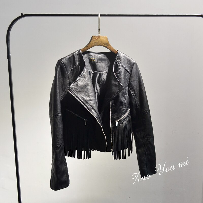 2020 Solid Coats Offer Tassel Full Women Jacket New 2020 Spring and Autumn Pu Leather Black Long Sleeve Zipper Jacket 1
