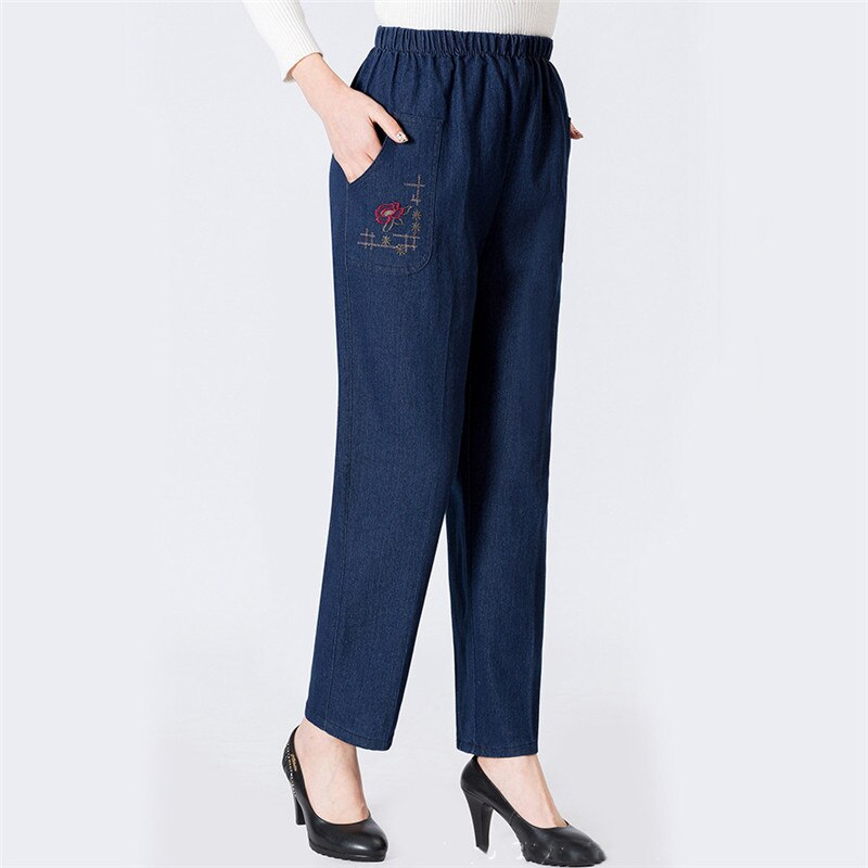 Mom Jeans Blue Loose High Waist Jeans 2019 New Spring Korean Embroidery Pockets Mid-aged Women Straight Jeans Chic Clothing JD47 2