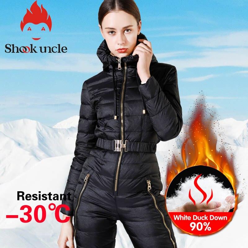 Winter new girls's slim match jumpsuit 90% White Duck down jacket