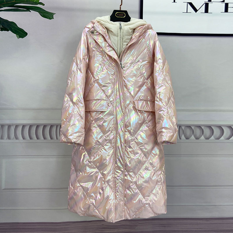 Oversize Hooded Women Down Jacket New Arrival Long Loose White Duck Down Coat Long Down Parka Female Warm Winter Coat Women 4