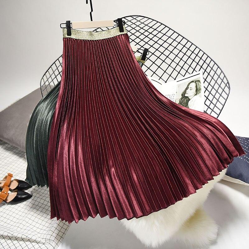 Qooth 2020 Winter Women Elegant Pleated Skirt Elastic Waist Women Long Skirt Female Autumn Ladies High Quality Midi Skirt Saia 2