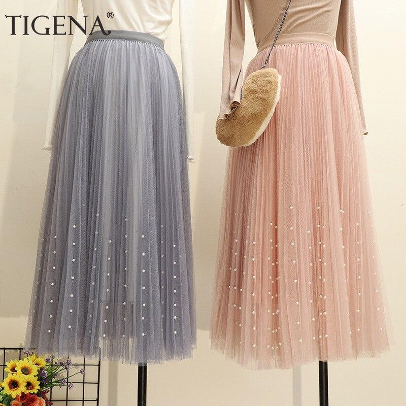 TIGENA 3 Layers Fashion Women Long Skirt Tulle with Beading 2019 Summer Korean High Waist Pleated Skirt Female Pink White Skirt