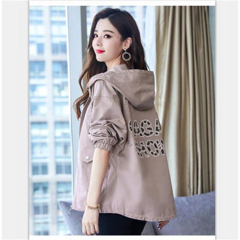 2020 New Women Jackets Autumn Windbreaker Female Long Sleeve Casual Hooded Jacket Zipper Lightweight Outwear Plus Size P713