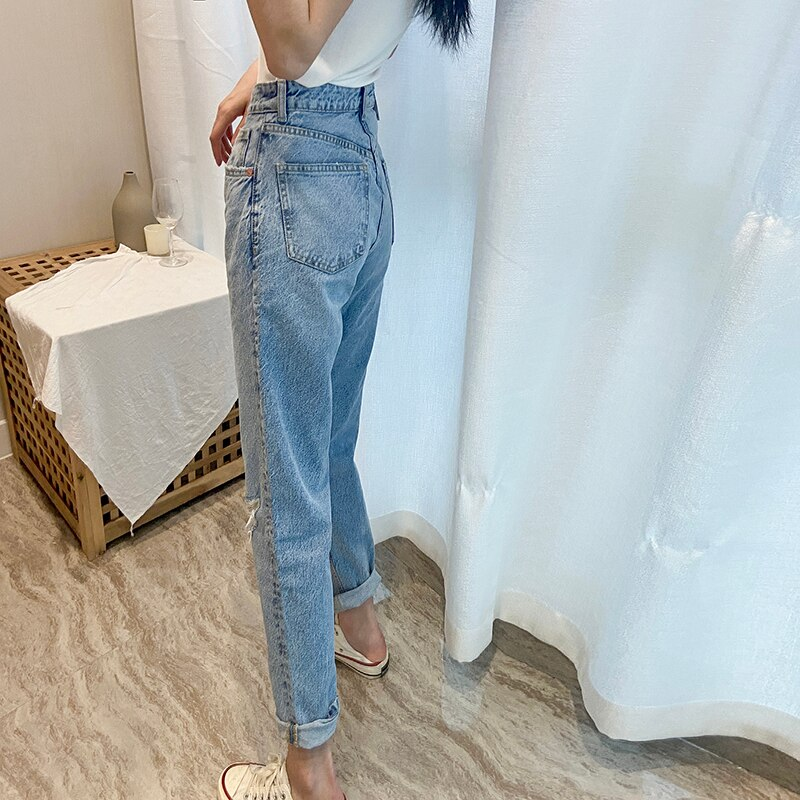 Za Women Jeans 2020 New High Street Fashion with High Waist Hollow Out Vintage Jeans Blue Long Denim Straight Pants For Women 3