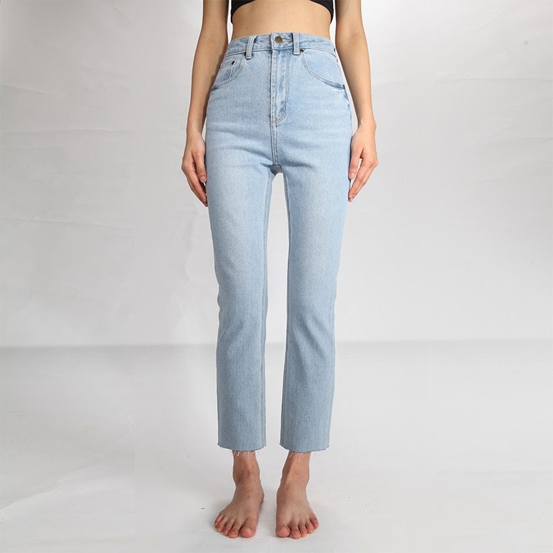 CREK Momjeans Spring and Summer Washed Light Blue Tassel Soft Material Comfortable High Waist Small Straight Jeans Women 1