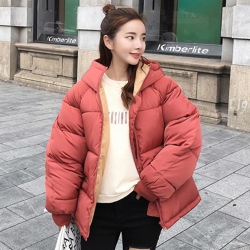 Women down coat 2020 new full zipper solid fashion cotton-padded women down jacket big hooded warm winter jacket women coat 1