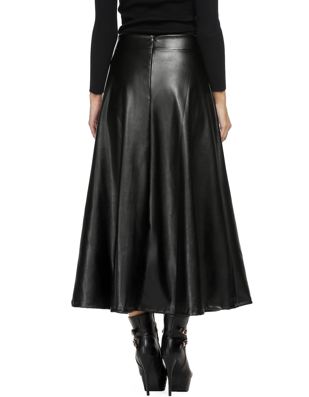 Winter Pu Leather Skirt Women Maxi Long Skirts Womens High Waist Slim Autumn Vintage Pleated Skirt Black Xl Xxl 3