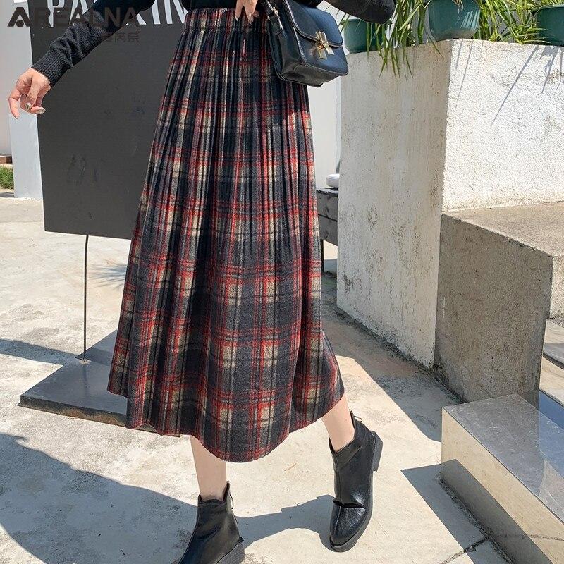 Korean Style Black School Pleated Skirt for Women Plaid Tweed Skirts Womens Long Skirts Womens Midi Skirt Checkered Tartan Skirt 3