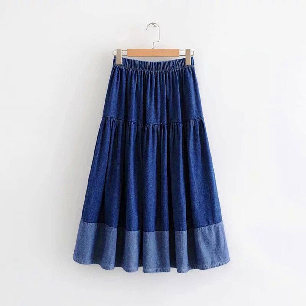 Womail Fashion Women Long Skirts Elastic Waist Pleated Maxi Skirts Beach Boho Vintage Summer High-quality Temperament skirt 4