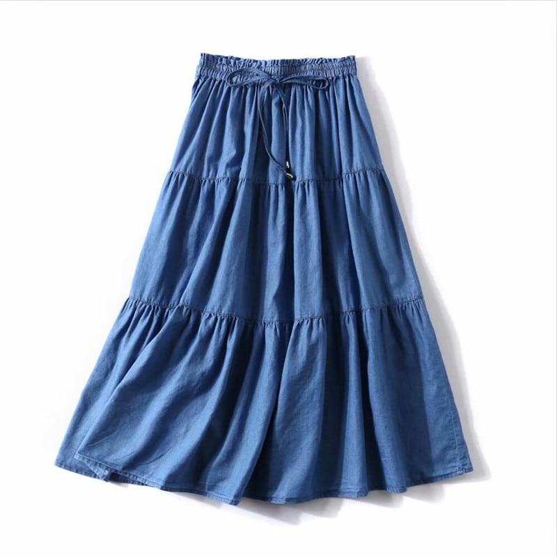 2020 Summer Solid Color Korean Style Women Long Skirts Loose Ruffles Denim Skirts High Elastic Waist Slim Skirts Plus Size M-7XL 3