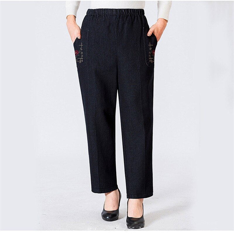 Mom Jeans Blue Loose High Waist Jeans 2019 New Spring Korean Embroidery Pockets Mid-aged Women Straight Jeans Chic Clothing JD47 4