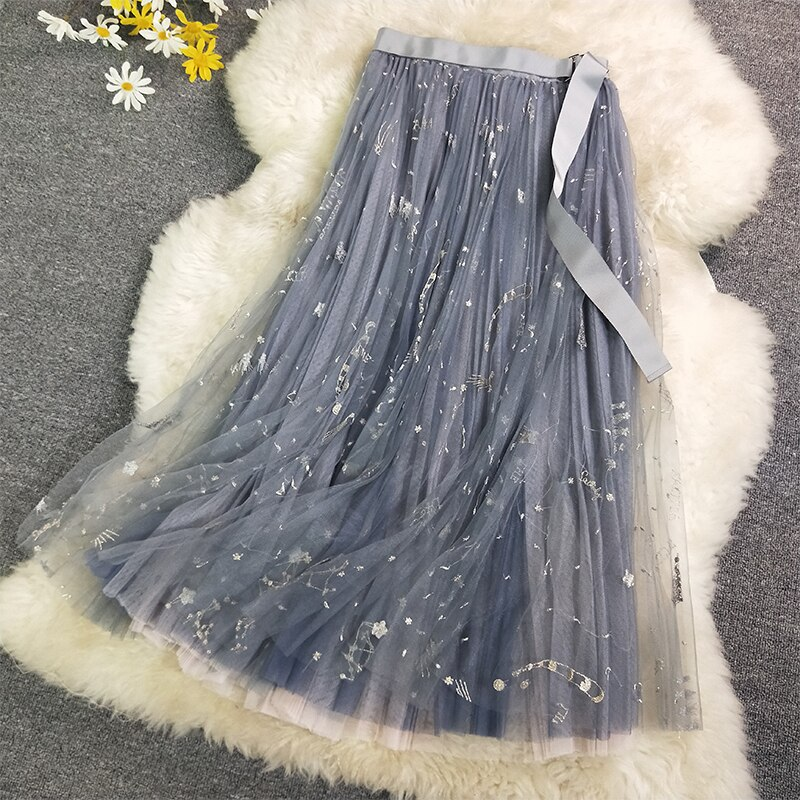 Heavy Constellation Star Embroidered Multi-level Mesh Skirt Women Long Skirt 2019 Spring Autumn Ladies Mesh Skirt Nancylim Brand 2