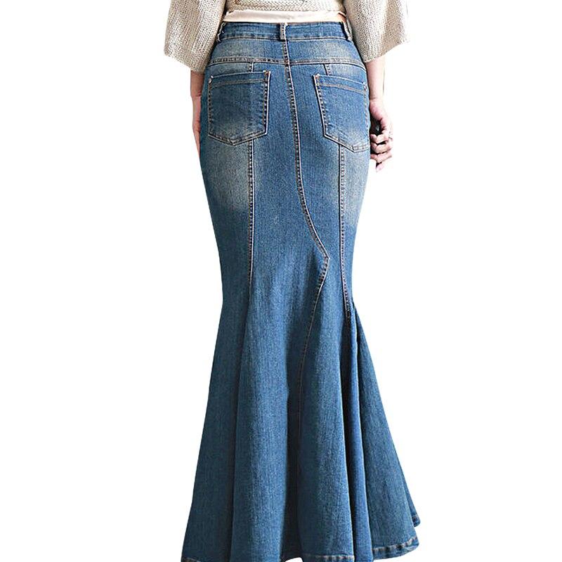 Women's Casual Stretch Waist Washed Denim Ruffle Fishtail Skirts Long Jean Skirt 2