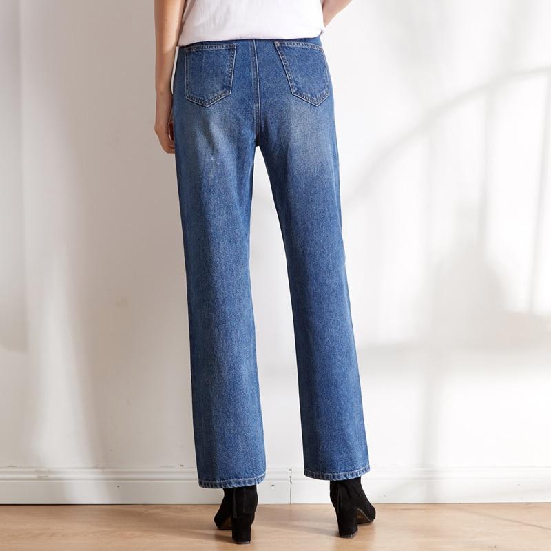 LEIJIJEANS new arrival Large size women's non-elastic high waist straight trousers classic female elegant loose women jeans 9101 3