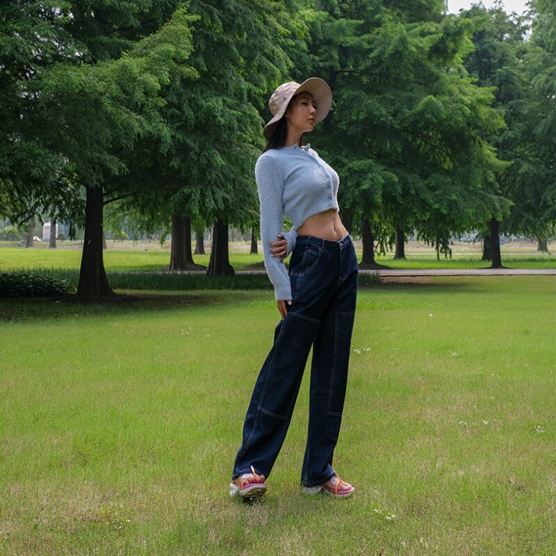 Women High Rise Contrast Stitching Straight Leg Jean Dark Wash Relaxed Fit Denim Pants 2