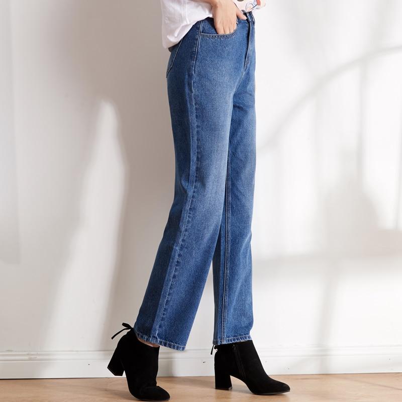 LEIJIJEANS new arrival Large size women's non-elastic high waist straight trousers classic female elegant loose women jeans 9101 2